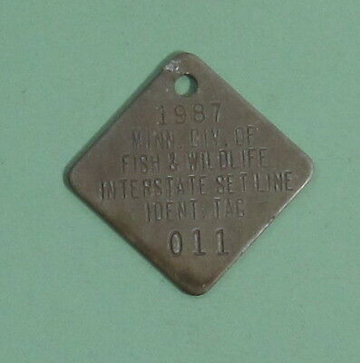 1987 Minnesota Boundary Waters Interstate Setline License Tag ...Free Shipping!