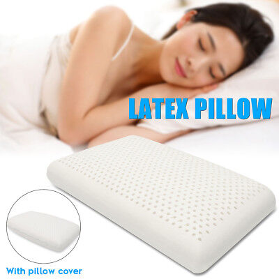 100% Natural Latex Pillow Bed Sleeping Contour Luxurious Soft Cover Neck Support