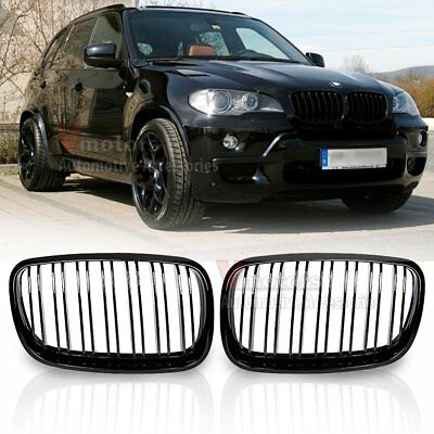 For 2007-13 BMW X5 E70 X6 E71 Gloss Black Front Kidney Grill Grille Double Line