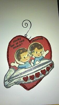 Vintage Valentine's Day  Card Glitter Wood  Ornament Your out of this World