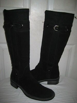 32f3be603cf Aquatalia By Marvin K. Black Suede spunky Weatherproof Riding Boots Size 9.5