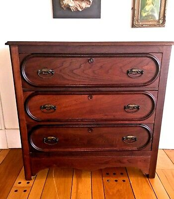 Eastlake Victorian Red Oak 3 Drawer Dresser~ Antique 19th C.