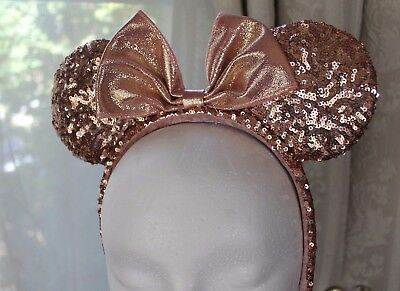 Disney Parks Rosegold Minnie Ear Headband w/ Rose Gold Sequin Bow NEW