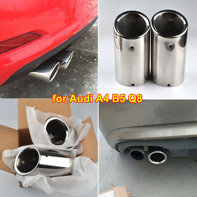 Uk Stock 75Mm Silver Rear Muffler Stainless Steel Exhaust Tail Pipe - Audi A4 Q5