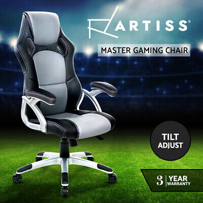 PU Leather Racing Office Chair Sport Executive Computer Home Work Black Grey 74