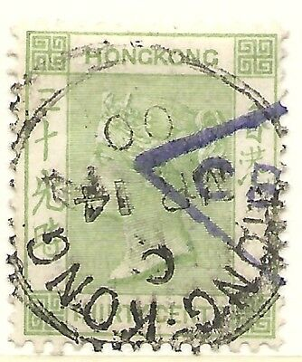 HONG KONG SCOTT 47 USED FINE+ - 1891 30c GRAY GREEN QUEEN VICTORIA ISSUE CAT $27