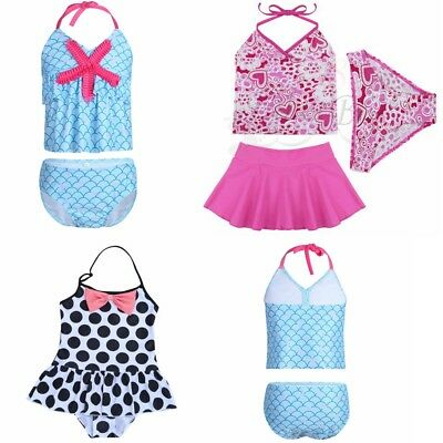 Girls Kids Halter Top Tankini Swimwear Bathers Swimmers Bikini Beach Swimsuit