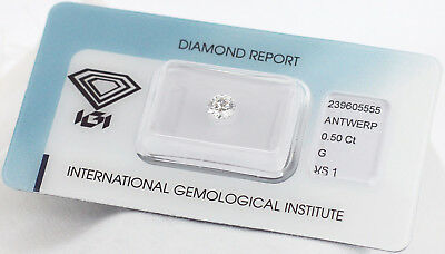 Diamant 0,50ct G VS1 IGI Zertifikat - Laserscribe and Sealed -