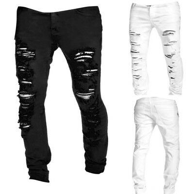 Mens Straight Hole Slim Fit Jeans Distressed Ripped Runway Skinny Pants Trousers