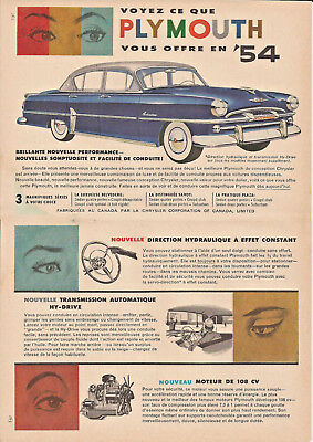 1954 Plymouth Belvedere Automobile Original Ad In French