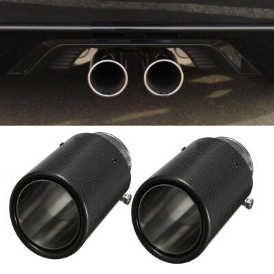 2x Universal 60mm Carbon Fiber Exhaust Muffler Tail Pipe Tip For BMW /VW/ Benz