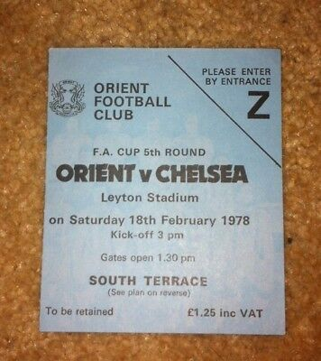 1977-78 Leyton Orient V Chelsea Fa Cup 5Th Round Match Ticket 18-2-78