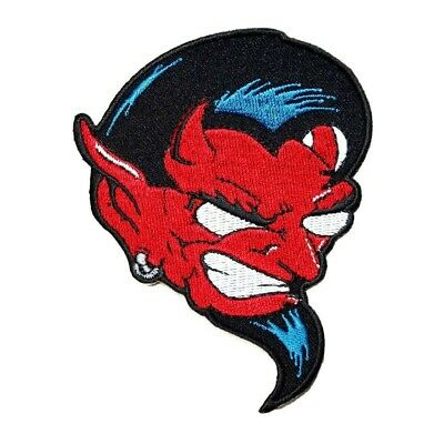 Red Devil Goatee Patch Demon Satan Biker Tattoo Embroidered Iron On Applique