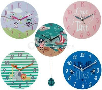 Childrens Round Wall Clock Frameless Mdf Quartz Analogue Kids Bedroom Pink Blue