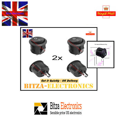 2x Small Black Button On/Off Round Rocker Switch AC 6A/125V 3A/250V UK Seller