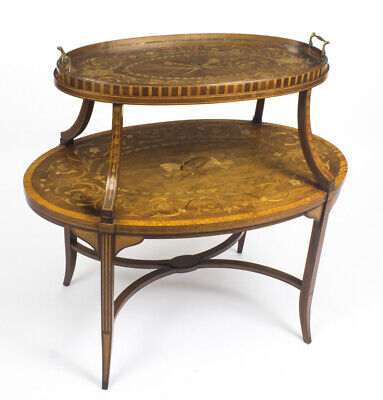 Antique English Mahogany & Satinwood Etagere Tray Table c.1890