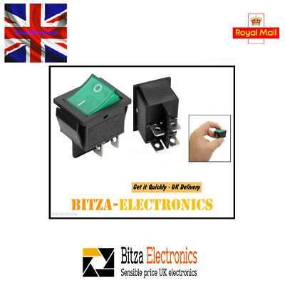 2x Green Illuminated DPST ON-OFF 6 Pin Terminals Rocker Boat Switch 15A/240V UK