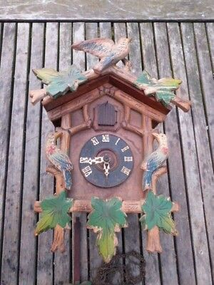 Rare Antique Schwarzwalder Hand Carved/painted Cuckoo Clock.restoration Project