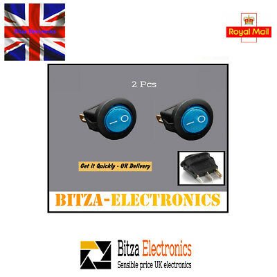 2x Illuminated Round Blue SPST Mini Rocker Switch Snap-In 240V/6A UK Seller