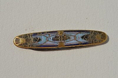 Beautiful Antique Brass  & Stone Inlay Pocket Knife Art Deco Style