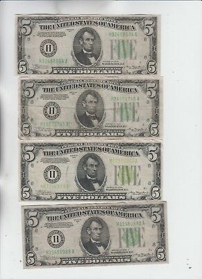 Federal Reserve Note $5 1934's 4 notes lower grade and up