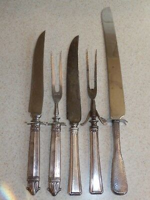 Vintage Silver 5 Piece Batch Serving Pieces Silver Plate Carving Sets Cake Knife