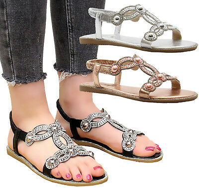 4dd6798478884 Ladies Womens Flat Diamante Summer Strap Party Comfy Open Toe Sandals Shoes  Size