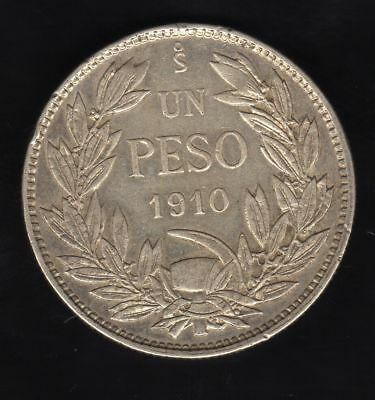 Chile  1 Peso 1910, Silver Very Nice Condition