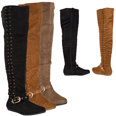 New Strappy Side Lace Up Buckle Strap Over The Knee OTK High Women Flat Boot Zip