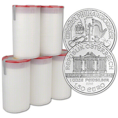 2018 Austria Silver Philharmonic 1 oz 1.5 Euro 5 Rolls 100 Coins in 5 Mint Tubes