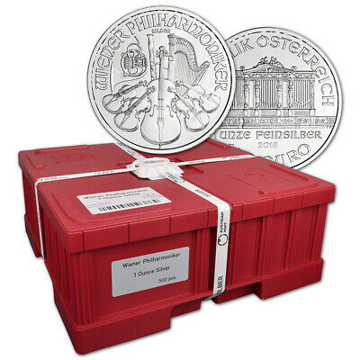 2018 Austria Silver Philharmonic 1 oz 1.5 Euro Mint Sealed 500 Coin Monster Box