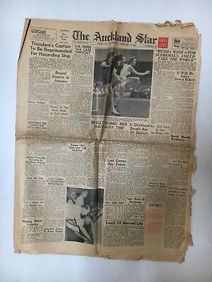 The Auckland Star N.z Whole Newspaper Shirley Strickland Cover, 12 Pages