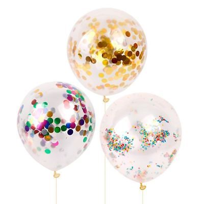 "5pcs 12"" Latex Clear Confetti Filled Balloons Birthday Party Wedding Decor"