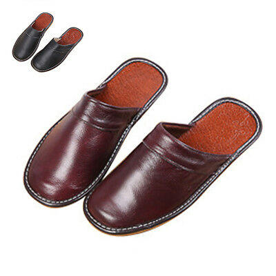 Men Slipper Shoes Classic Leather Closed Toe Indoor House Home Slippers US Size