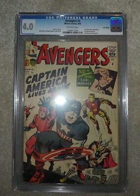 MARVEL Comics AVENGERS 4 CGC 4.0 OW pages 1964 1St app Captain America