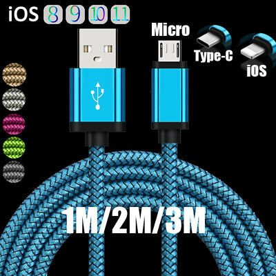 3/6/10ft Braided Charger Cable iOS/Android Sync Data For Samsung S8 S7 Note 5 4