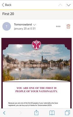 tomorrowland first 20 link f r ticket presale full madness weekend 1 und 2 eur 1 00 picclick de. Black Bedroom Furniture Sets. Home Design Ideas