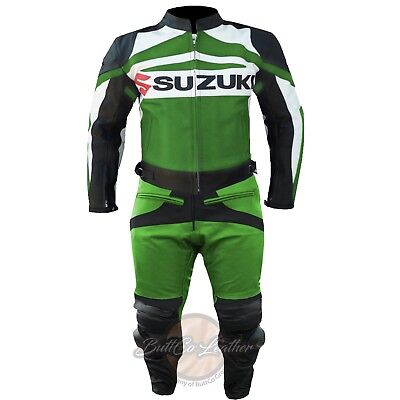 REAL LEATHER MOTORBIKE SUIT. Suzuki GSXR GREEN JACKET. Biker Motorcycle Trouser