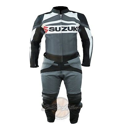 Suzuki GSXR GREY SUIT. Biker Motorcycle Trouser. Armour LEATHER MOTORBIKE Jacket