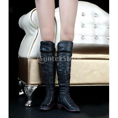 1:6 Black High Boots Accessory for 12'' Hot Stuff Phicen Kumik Figure Shoes