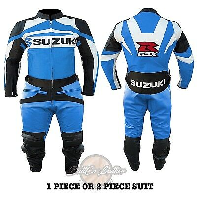 LEATHER BIKER SUIT. Suzuki GSXR Sky Blue Jacket. Motorbike Motorcycle Trouser