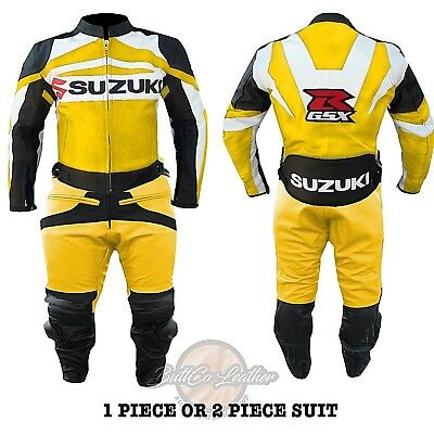 REAL LEATHER BIKER SUIT. Suzuki GSXR Yellow Jacket. Motorbike Motorcycle Trouser