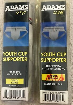 2 Adams USA Youth Supporter for General Athletic Activity Size Medium Large NIP