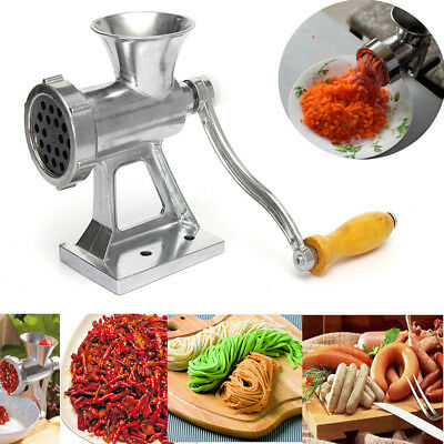 Meat Grinder Mincer Manual Kitchen Hand Sausage Stuffer Heavy Duty Cast Iron US