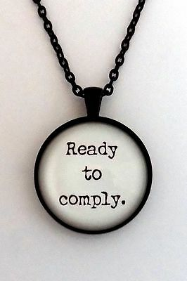READY TO COMPLY Marvel Captain America Bucky Barnes Quote Pendant Necklace