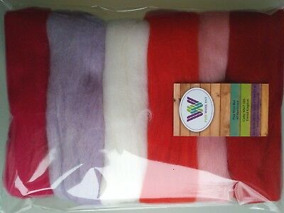 Valentine set* Pure Wool Tops for felting 6 colours: white pink red pack of 60g