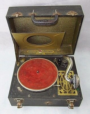 Rare Buster Brown Shoes Portable Phonograph Record Player 1920's to Teens Era