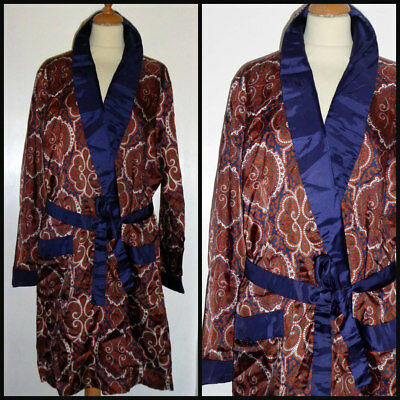 Vintage 60S St Michael Silky Paisley Dressing Gown Robe Smoking Jacket Med 46""