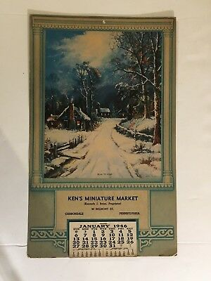 """1946 Complete Monthly Wall Calendar - """"road To Home""""  With Phone Index"""