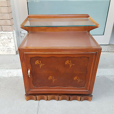 Unusual Bedsite Table Inlayed Italian Production 1950